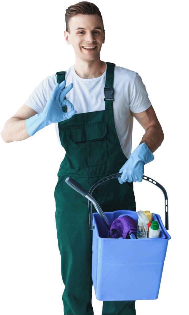 handsome smiling young cleaner holding bucket with SURKJ7F